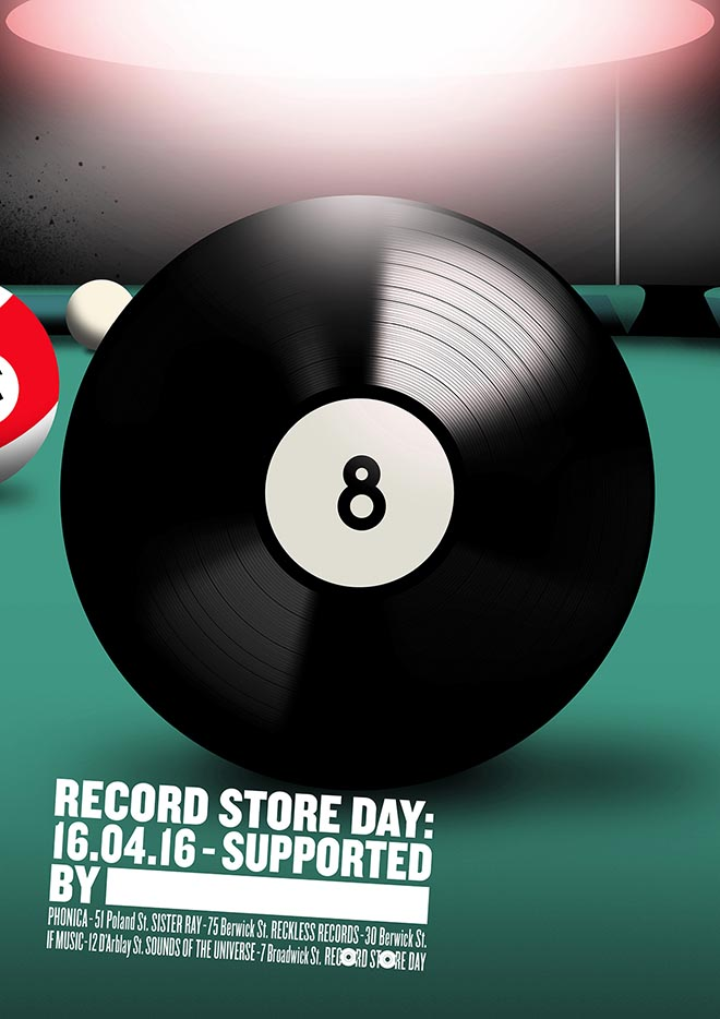 Record Store Day Poster from Soho London - Pool Ball