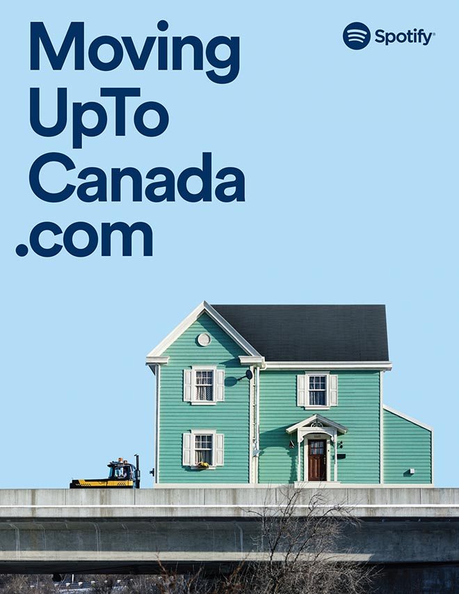 Moving Up to Canada Spotify Playlist Stories ad