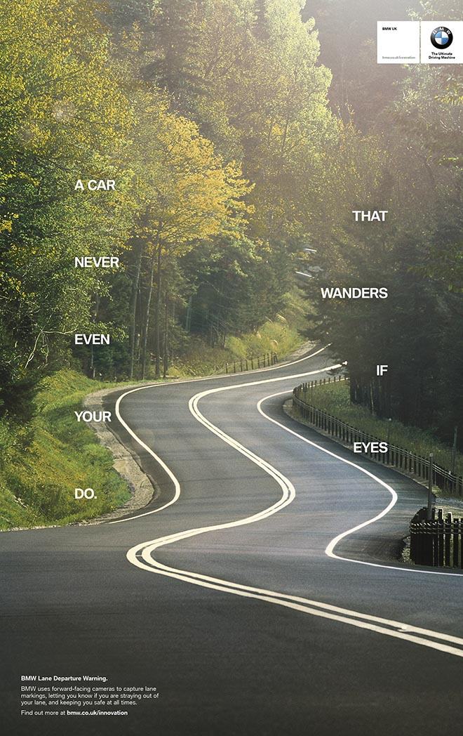 BMW Innovation print ad - Lane Departure Alert - A car that never wanders even when your eyes do