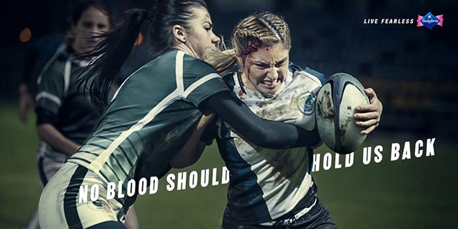 Bodyform Blood rugby print ad