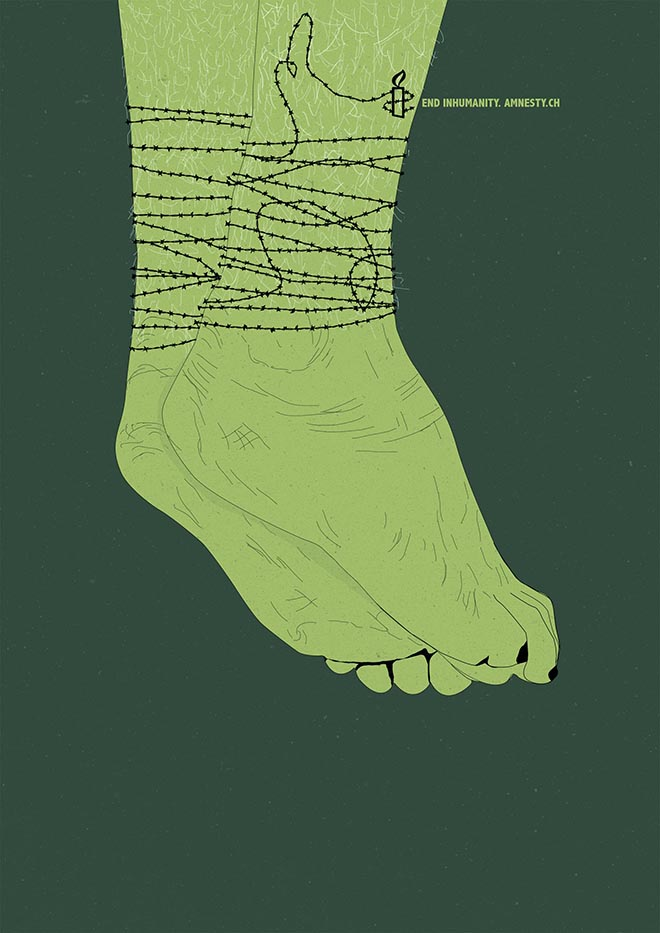 Amnesty End Inhumanity Feet Barb Wire poster