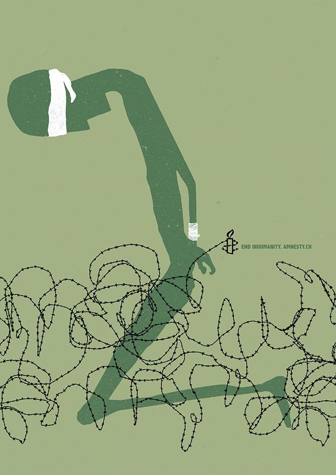 Amnesty End Inhumanity Humiliation Barb wire poster