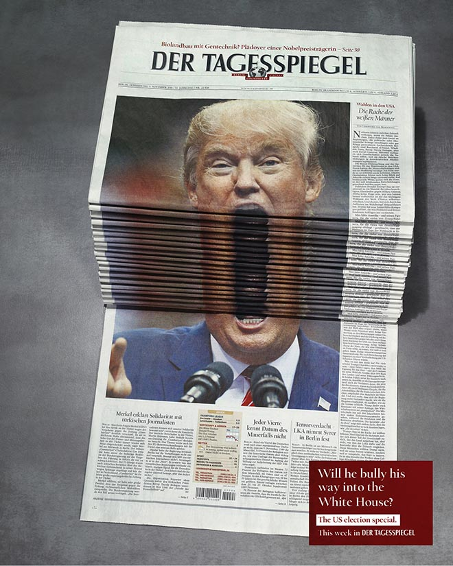Der Tagesspiegel Newspaper Stack - Trump