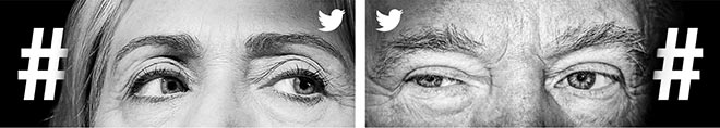 Twitter What's Happening - Hillary Clinton and Donald Trump eyes
