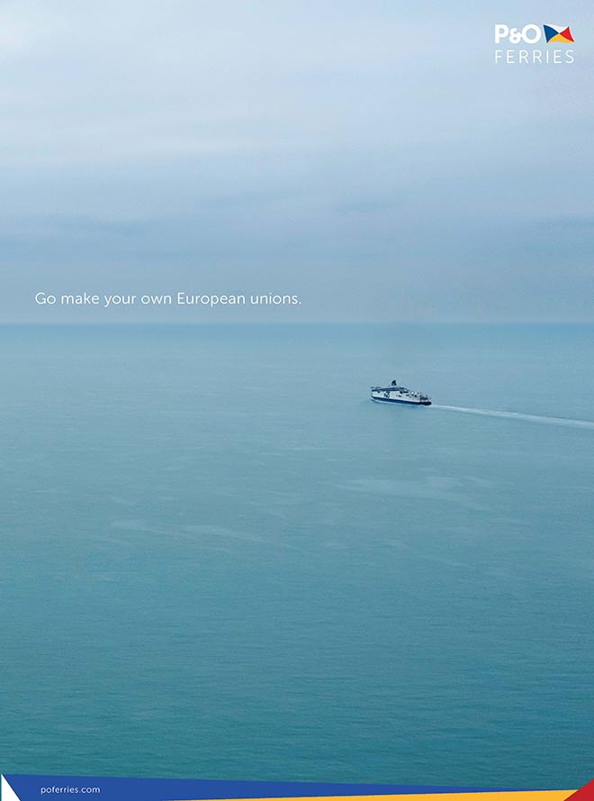 P&O Brexit Reassurance ad Make your own European unions