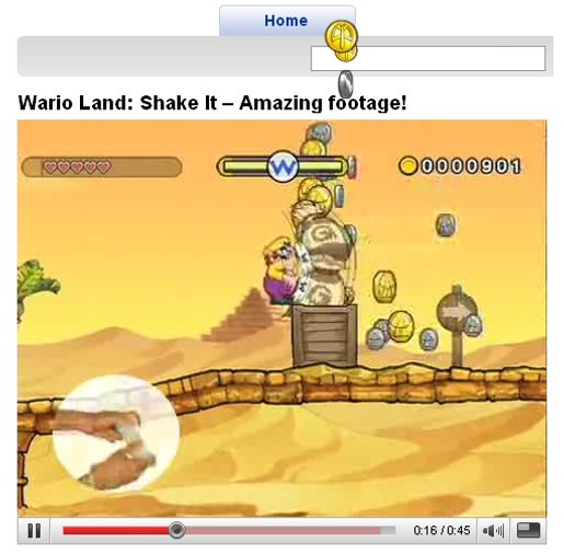Wario Land Shake It site at YouTube