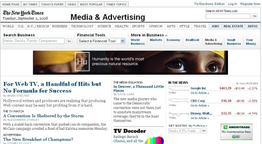 New York Times Media and Advertising September 2 2008