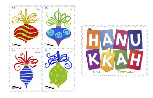 USA Hanukkah and Holiday Stamps 2011