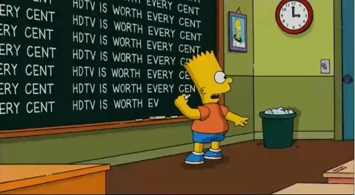 Bart Simpsons writes HDTV in The Simpsons Opening Title Sequence
