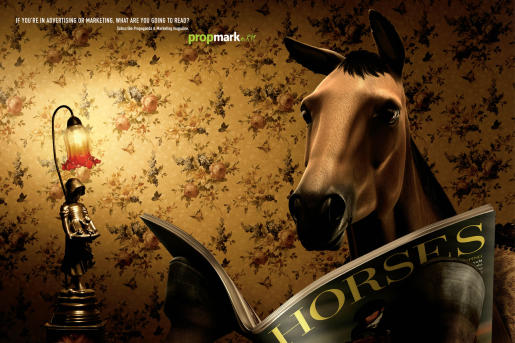 Horse reads Horse magazine in Propmark advertisement