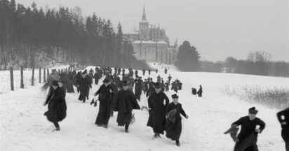 Ice skating priests with Stella Artois