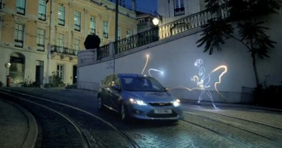 Ford Focus White & Orange Light Grafitti