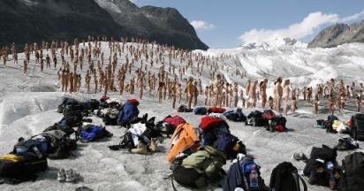 Greenpeace Glacier Art Naked Testimony to Global Warming
