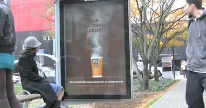 McDonalds Coffee Steam at Bus Shelter