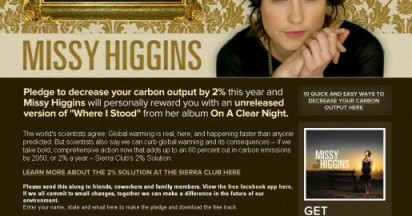 Missy Higgins Pledge at Sierra Club