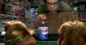 Sumo chickens wrestle for Pepsi