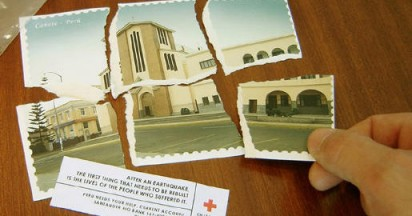 Red Cross Earthquake Cards in Pieces