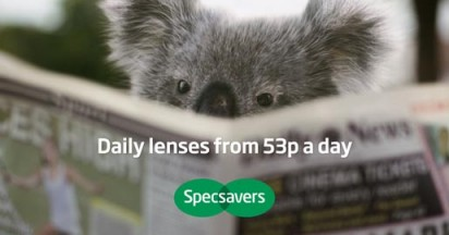 SpecSavers Koala reads newspaper