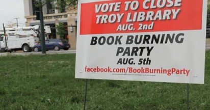 Troy Public Library Book Burning